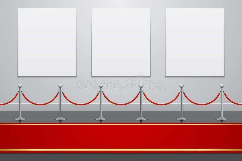 Galerieinnenraum mit rotem Teppich und Zaun lizenzfreie abbildung
