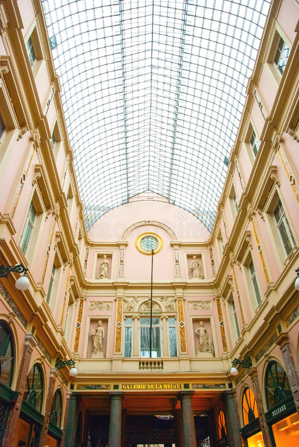 Galeries de Sait Hubert, Brussels, Belgium. Galeries de Sait Hubert shopping arcade in Brussels, Belgium stock photos
