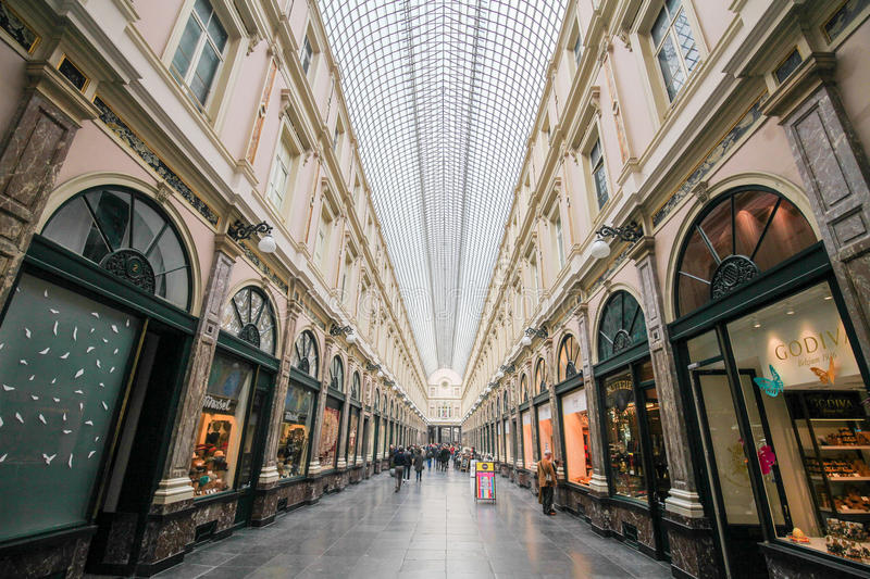 Galeries Royales Saint-Hubert in Brussels. The Galeries Royales Saint-Hubert (French) or Koninklijke Sint-Hubertusgalerijen (Dutch) is a glazed shopping arcade royalty free stock image