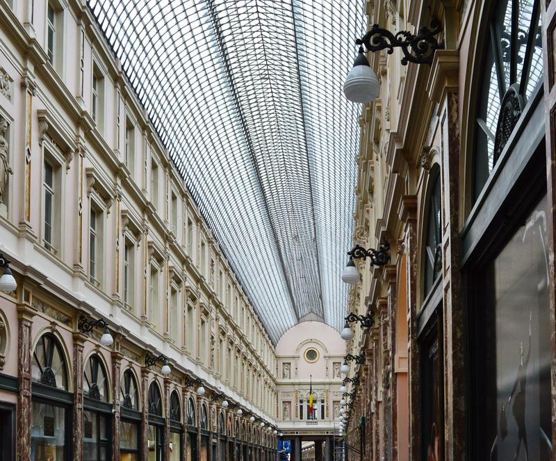 The Galeries Royales Saint-Hubert in Brussels, Belgium. The Galeries Royales Saint-Hubert is a glazed shopping arcade in Brussels that preceded other famous 19th royalty free stock photography