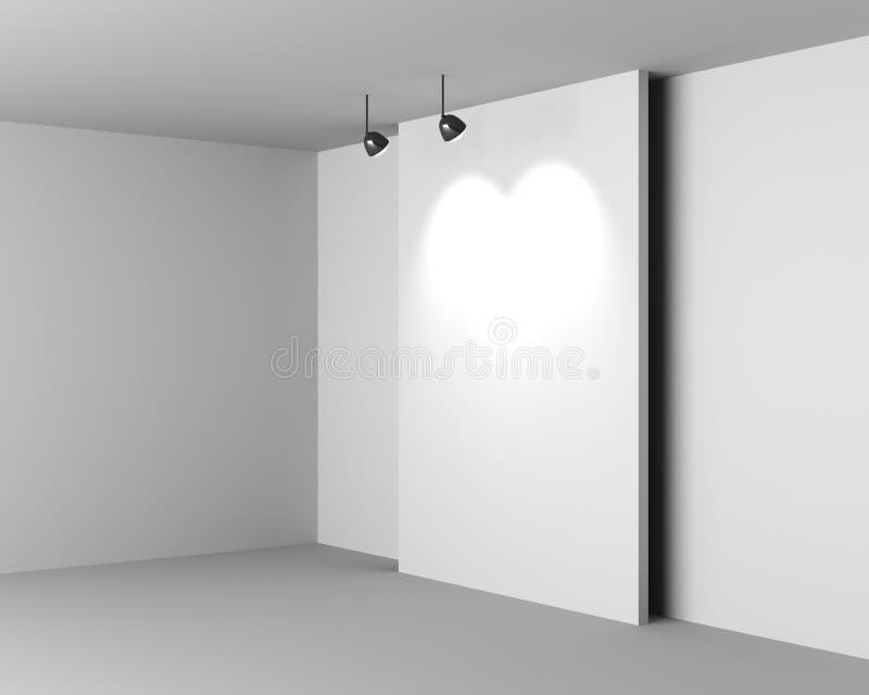 Download Galerii Biały Wnętrze Z Pustym Biurkiem I Lampami Ilustracji - Ilustracja złożonej z greaser, ilustracje: 28956531
