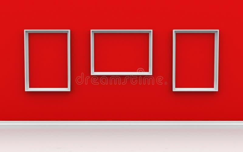 Galerii wnętrze z pustymi ramami na czerwieni ścianie zdjęcia stock