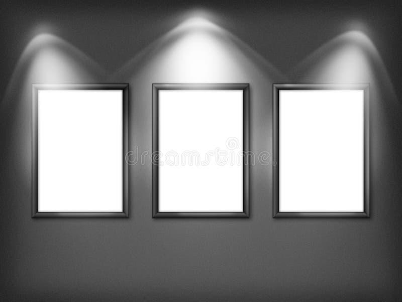 Galerii wnętrze z trzy pustym ilustracja wektor
