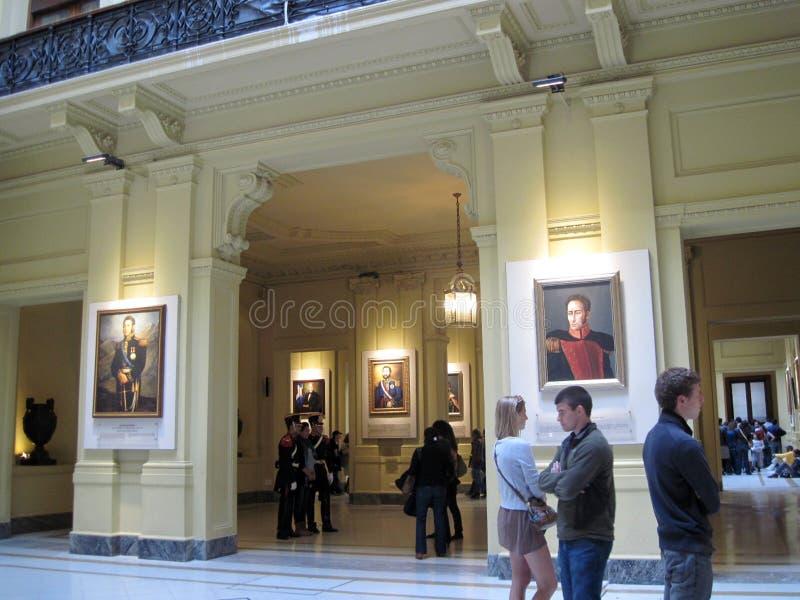 Galerij van de Latijns-Amerikaanse die Patriotten van Tweehonderdjarig, op de benedenverdieping van het paleis van Casa Rosada wo stock afbeelding