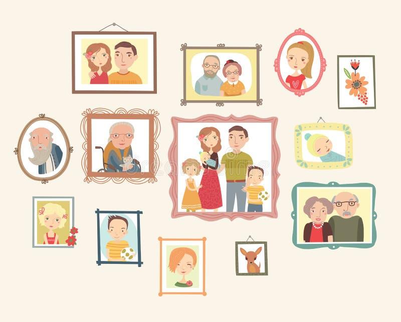 Galerij van familieportretten Foto's op de muur stock illustratie