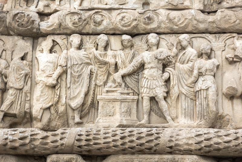Galerius罗马曲拱在市的中心塞萨罗尼基,中马其顿,希腊 免版税图库摄影