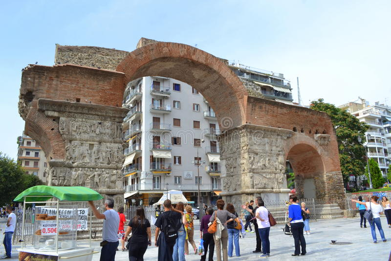 Galerius båge Thessaloniki Grekland fotografering för bildbyråer