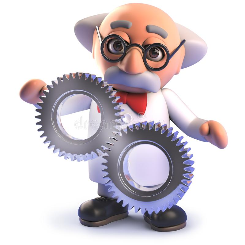 Galet tokigt forskaretecken för tecknad film med några kuggekugghjul, illustration 3d stock illustrationer