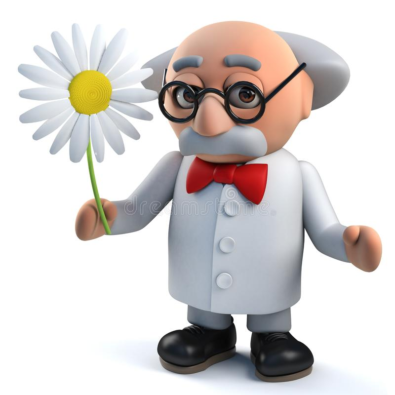 Galet tokigt forskaretecken som rymmer en blomma i 3d royaltyfri illustrationer