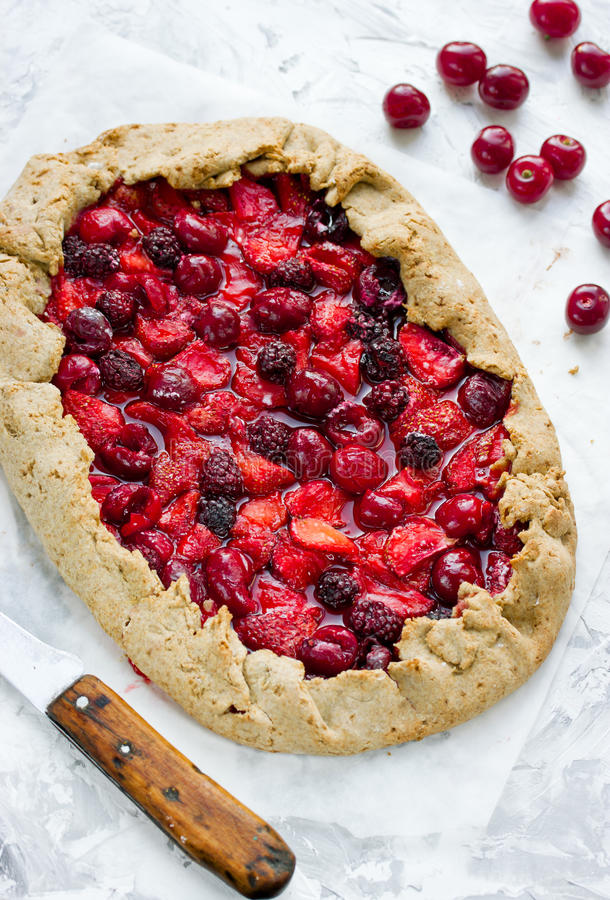 Galeta with strawberry, cherry and blackberry. Summer berries pi stock photography