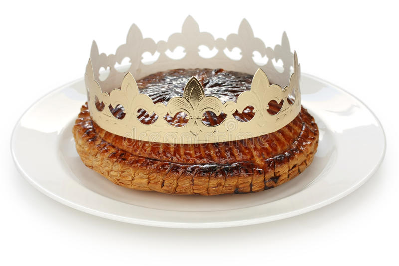 Galette des rois , king cake royalty free stock photo