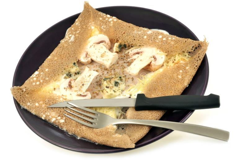 Galette with mushrooms and cheese stock photos