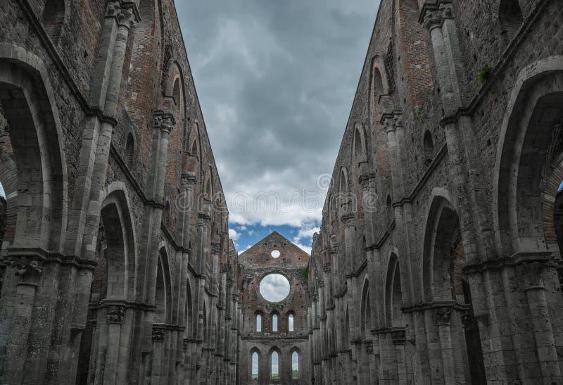 Galgano Toscana Italia Toscana di san dell'abbazia della chiesa del cielo immagini stock