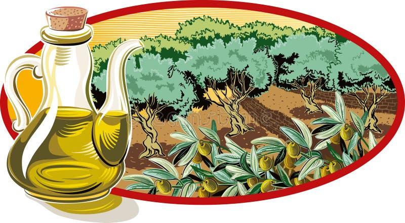 Galheteiro com azeite e dentro de um quadro oval um bosque verde-oliva ilustração do vetor