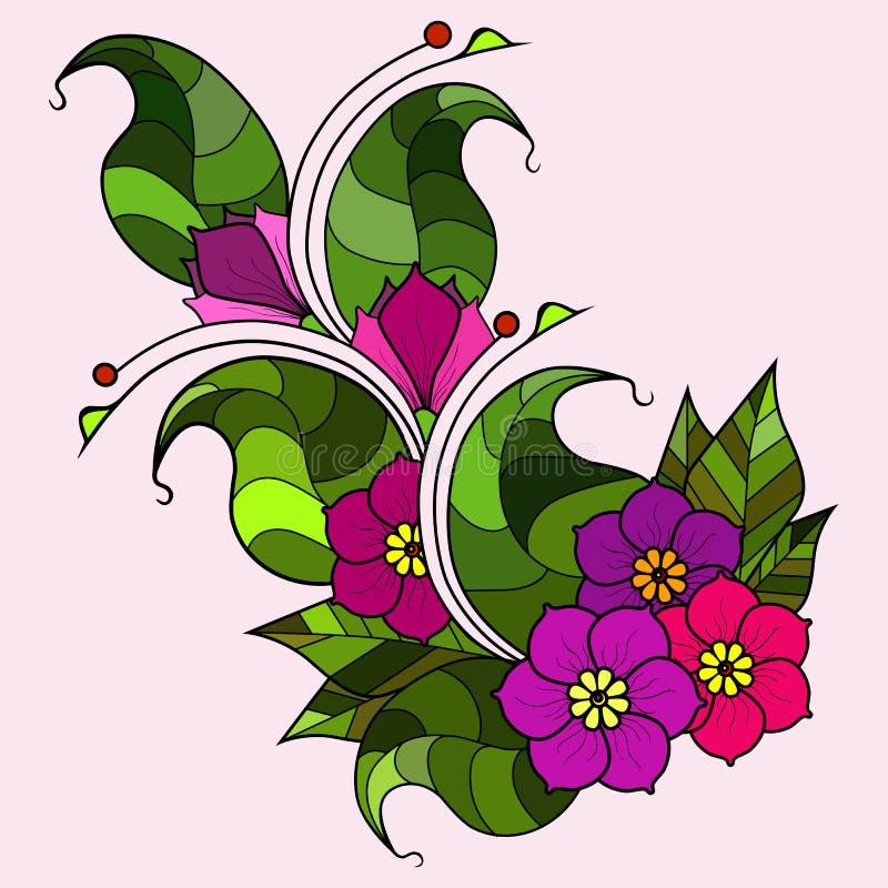 Galho abstrato com flores Opção da cor imagens de stock royalty free