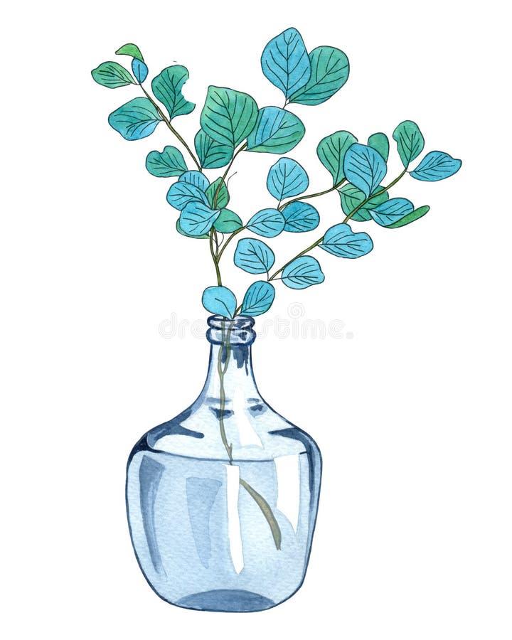 Galho verde com folhas em um vaso de vidro ilustração stock