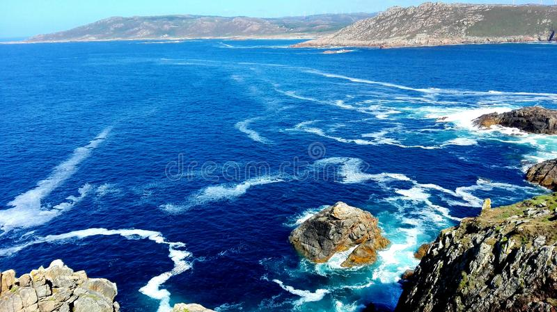 Galicia Spanien kust av Iberiska halvön för kust- region för död den nordvästliga ett Coruña Finisterre slut av vägen arkivfoto