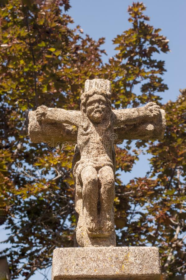 Galician cruise. Stone religious monument in the form of a cross. Typical of Galicia in Spain royalty free stock photography
