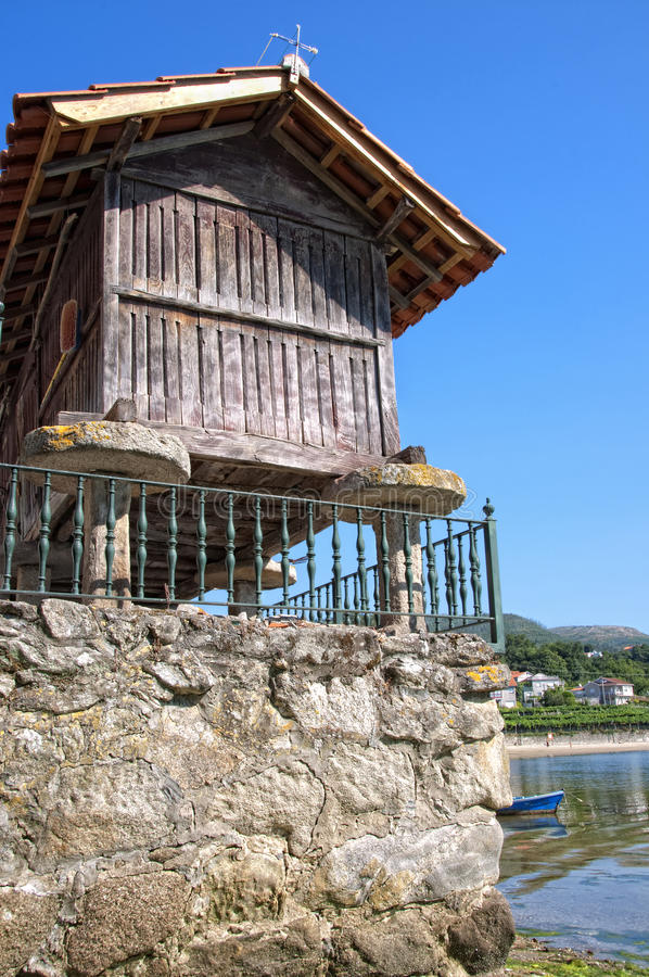 Galician Horreo. Typical construction from the north of Spain used as a granary to maintain some tyoe of foods stock image