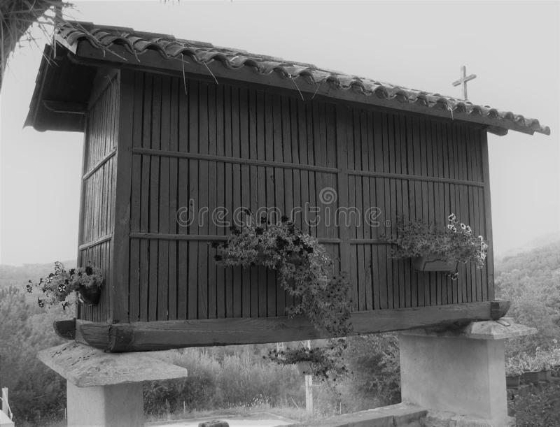 Galician typical barn renovated in old format. Nnnntypical Galician granary or barn that serves as an old format barnn stock images