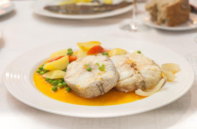 Galicyjski morszczuk jest popularnym naczyniem od Północno Zachodni Hiszpania zauważającego dla swój świeżej ryby owoce morza i fotografia royalty free