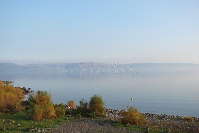 Galilee Overzees Meer Kineret israël Natuurlijke landschappen en panorama van plaatsen waar Jesus mensen in één keer onderwees stock afbeelding