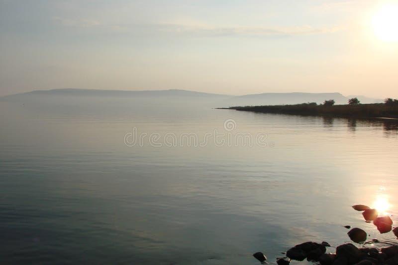 Galilee Overzees Meer Kineret israël Natuurlijke landschappen en panorama van plaatsen waar Jesus mensen in één keer onderwees stock fotografie