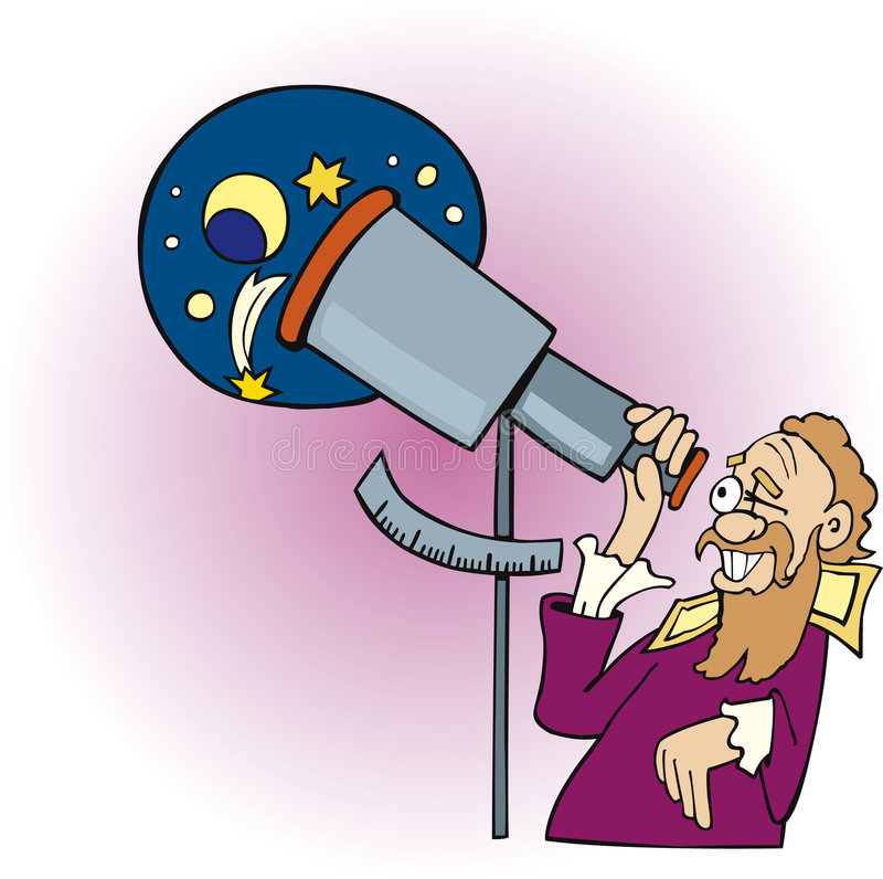 Galileo the astronomer stock illustration
