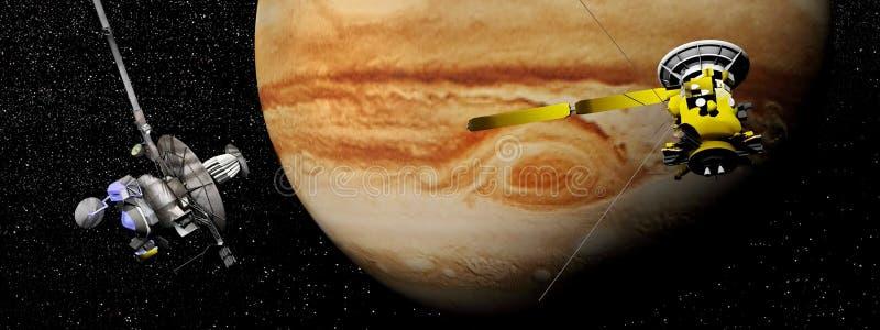 Galileo and Cassini spacecraft next to Jupiter - 3D render stock illustration