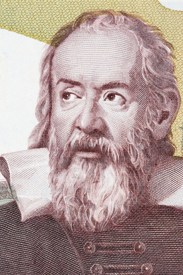 Galileo Galilei-portret van Italiaans geld stock fotografie