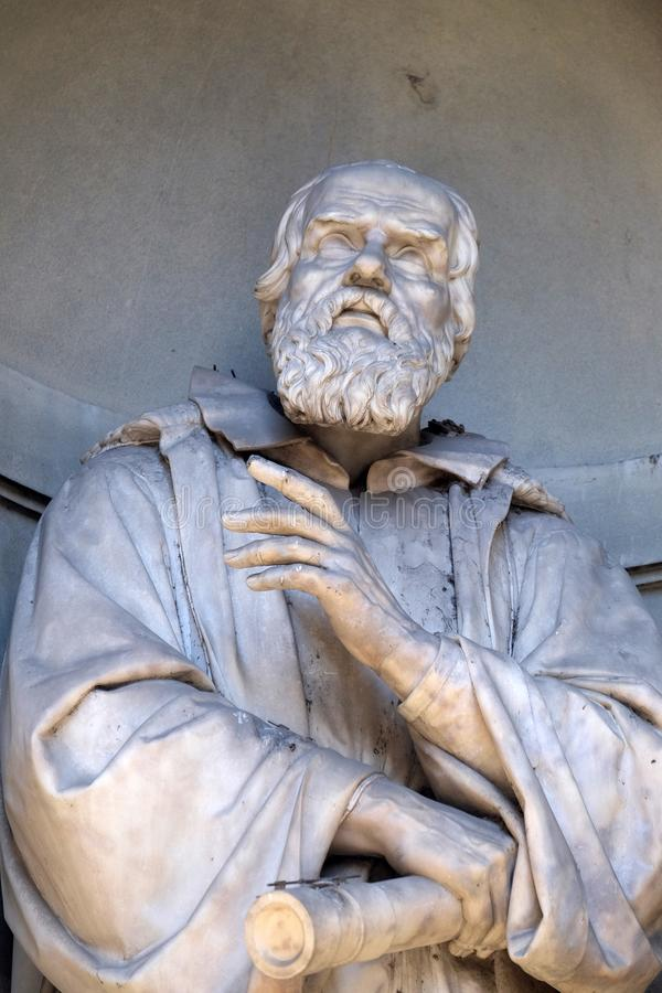 Galileo Galilei, statue in the Niches of the Uffizi Colonnade in Florence. Galileo Galilei, statue in the Niches of the Uffizi Colonnade. The first half of the stock photo