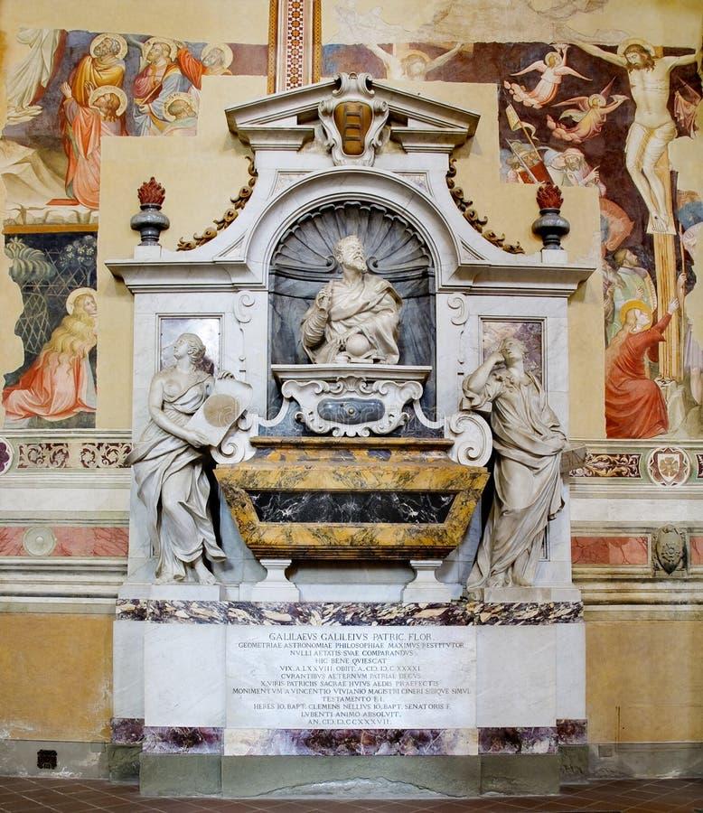 Galileo Galileis Tomb alla basilica di Santa Croce.  fotografia stock