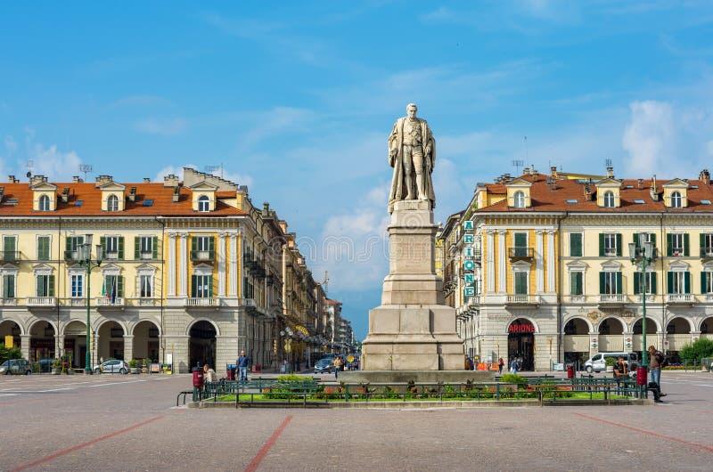 Galimberti kwadrat Cuneo, Podgórski, Włochy obraz stock