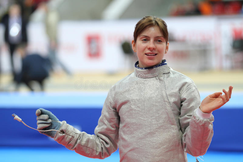 Galina Pundyk. Ukraine's Galina Pundyk compete at the 2010 RFF Moscow Saber World Fencing Tournament in Moscow, Russia royalty free stock image
