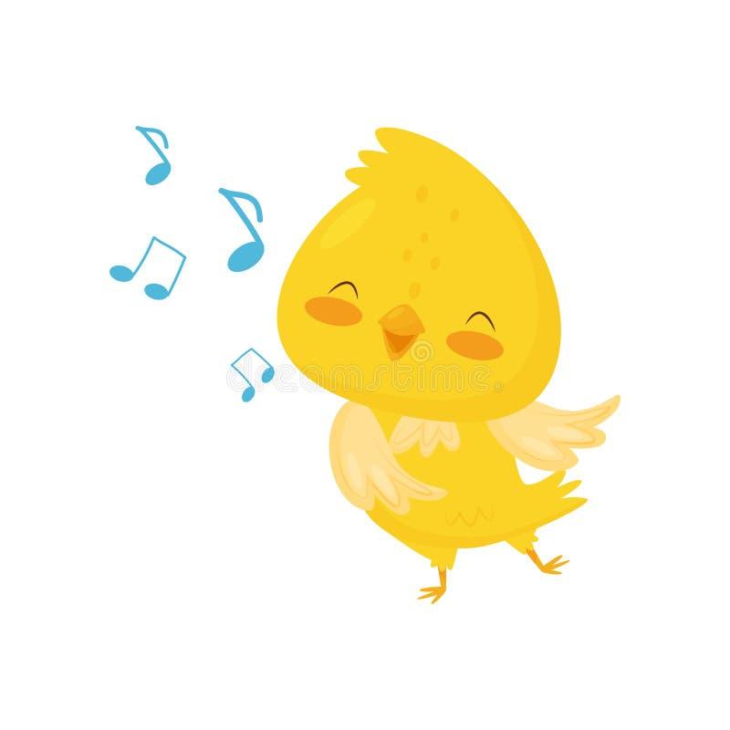 Galinha amarela bonito que canta, ilustração engraçada do vetor do personagem de banda desenhada do pássaro em um fundo branco ilustração stock