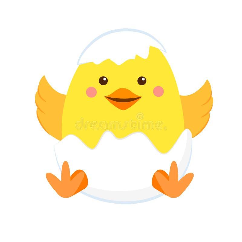 Galinha amarela recém-nascida no escudo ilustração stock