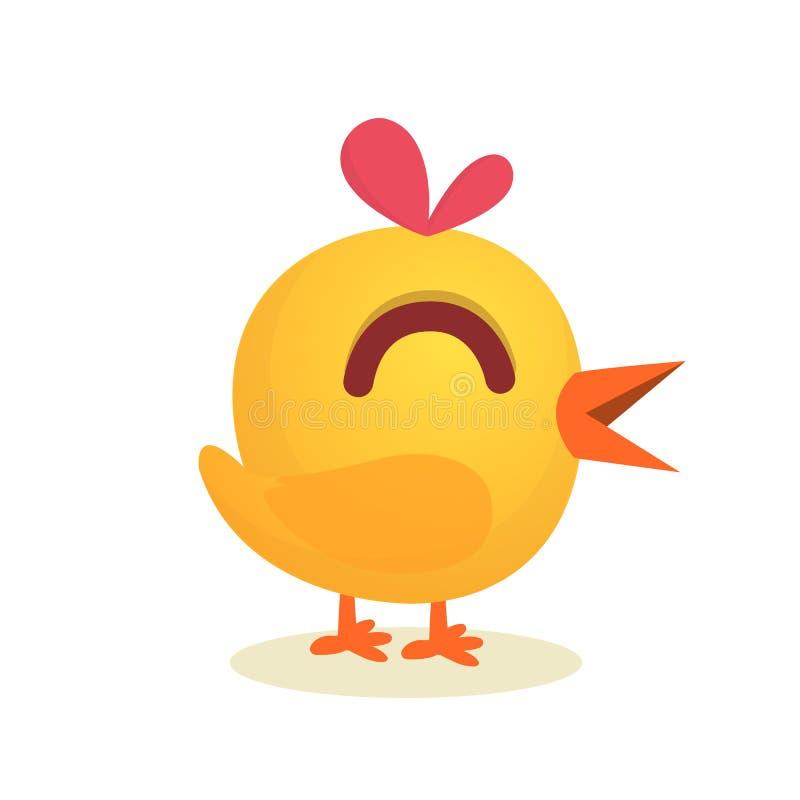 Galinha bonito do amarelo dos desenhos animados Animais de exploração agrícola Ilustração do vetor de uma galinha bonito Zombe ac ilustração stock