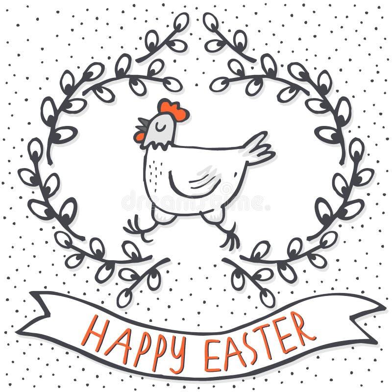 Galinha branca no cartão de Páscoa do feriado da mola da grinalda do salgueiro com desejos ilustração royalty free