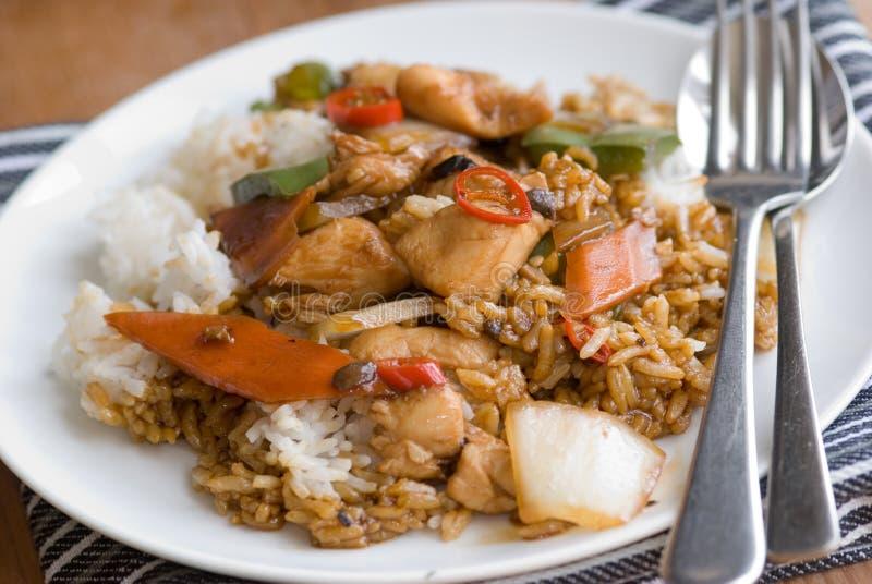 Galinha com arroz fotos de stock