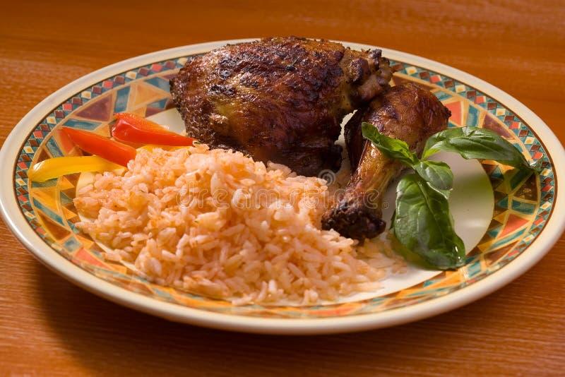 Galinha com arroz imagens de stock royalty free