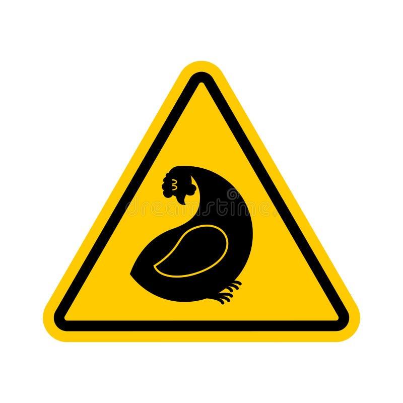 Galinha da atenção Perigos do sinal de estrada amarelo Cuidado da exploração agrícola de galinha ilustração royalty free