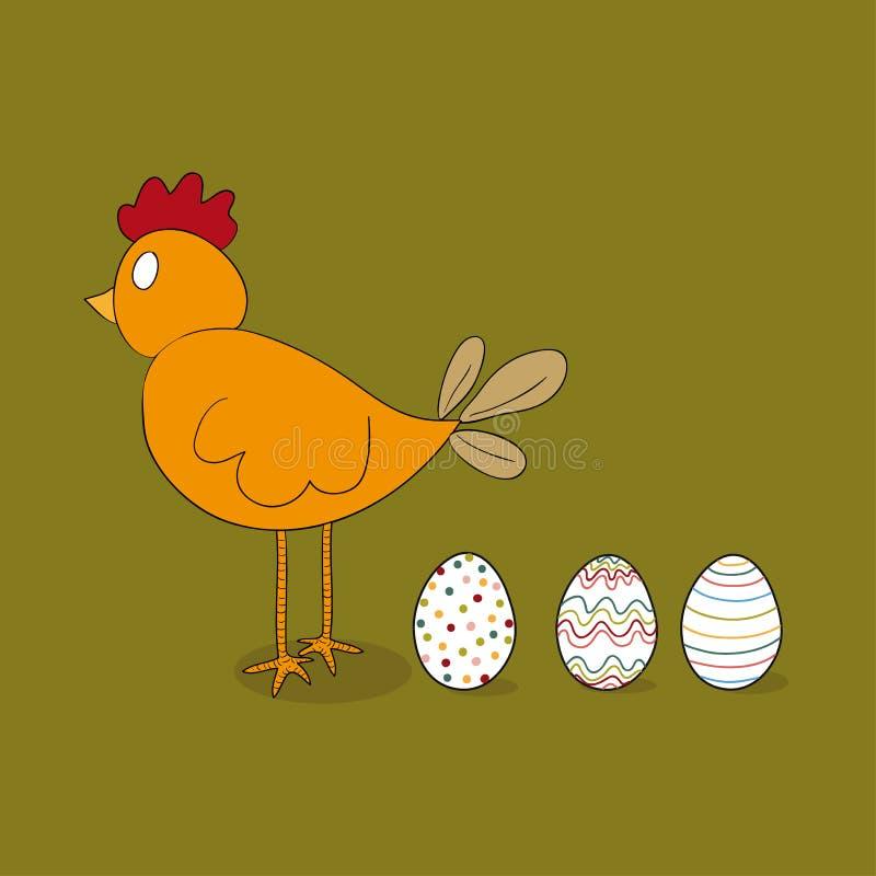 Galinha de Easter com ovos ilustração royalty free
