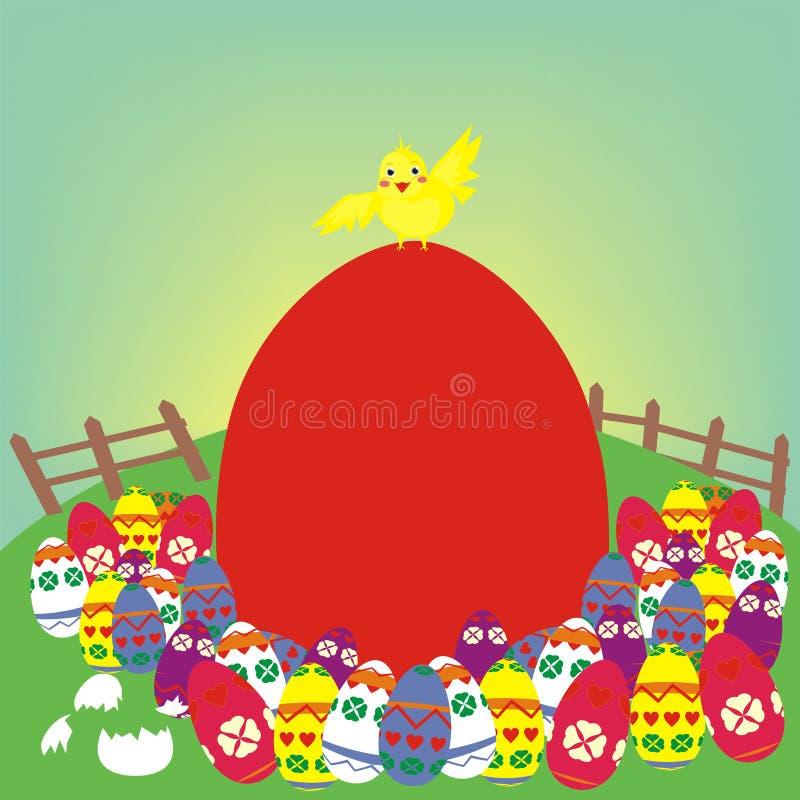 Galinha de Easter e o ovo vermelho imagem de stock
