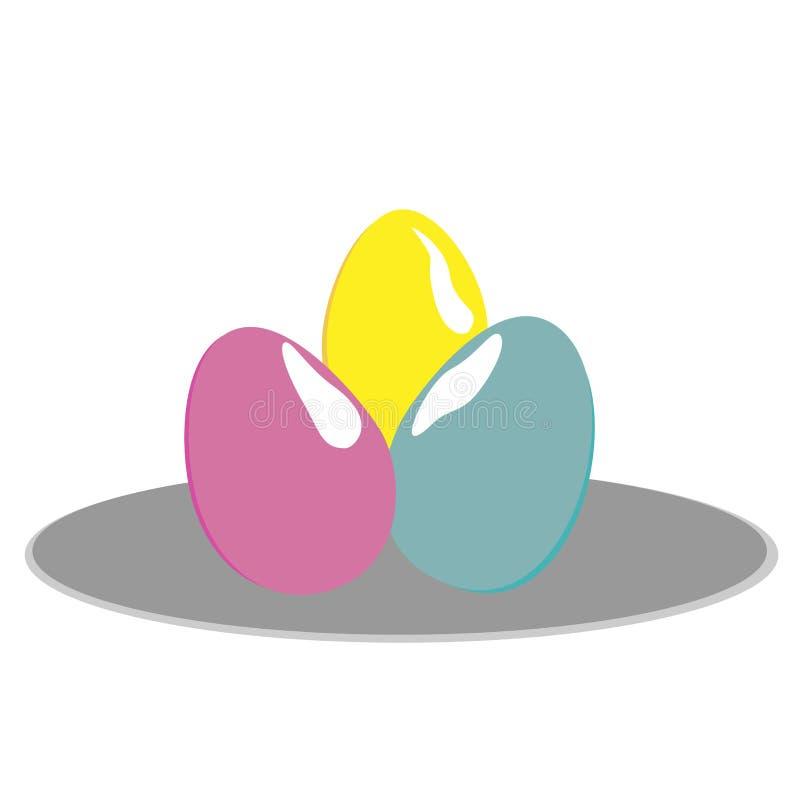 Galinha de três ovos em uma placa cinzenta em um fundo branco ilustração do vetor
