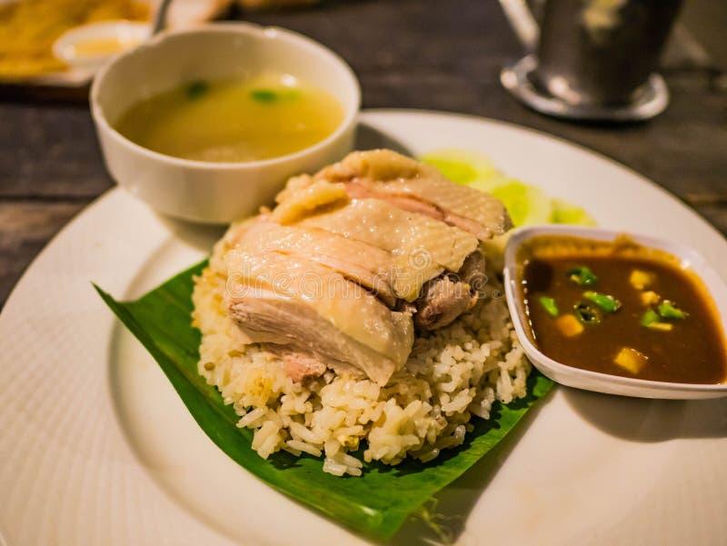 Galinha do arroz de Hainan no restaurante imagem de stock royalty free