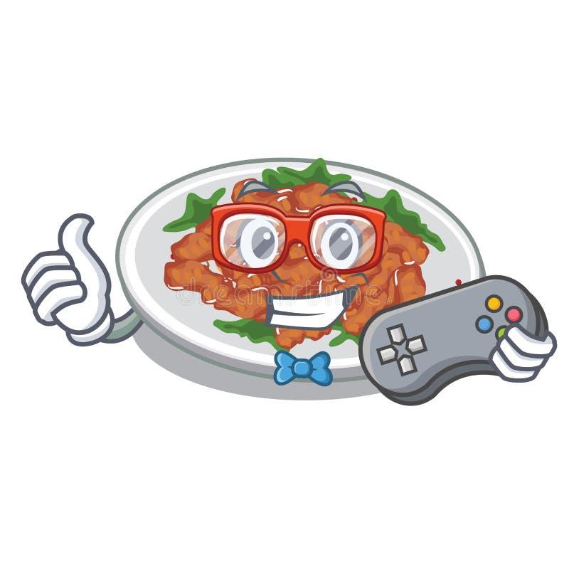 Galinha do sésamo do Gamer em uma bacia dos desenhos animados ilustração stock