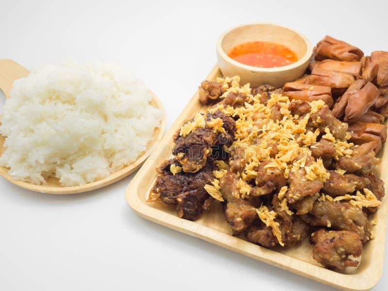 Galinha e arroz pegajoso fotos de stock royalty free