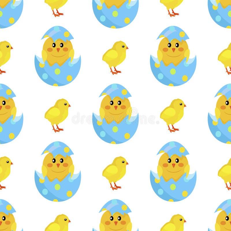 Galinha e Chick Hatch recém-nascido de Shell Vetora ilustração do vetor