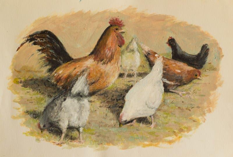 Galinha e galinhas que comem na pintura a óleo da jarda de exploração agrícola ilustração do vetor