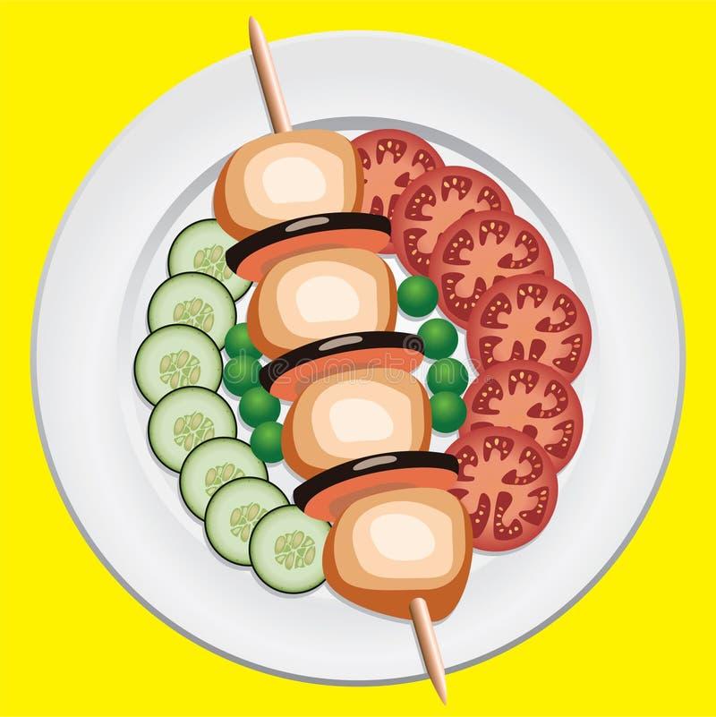 Galinha e vegetais grelhados ilustração stock
